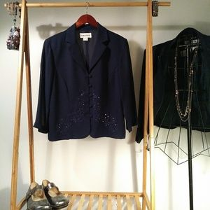 Navy Jacket Embroidered Sequined Beaded VTG Sz 12